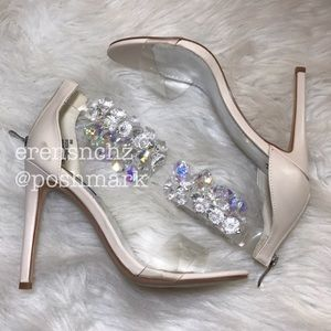 Shoes - Nude Embellished Jewel Clear Heel BLING! 💎